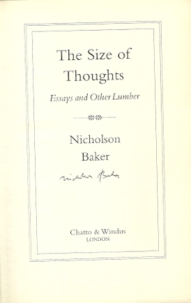Image for The Size of Thoughts: Essays and Other Lumber